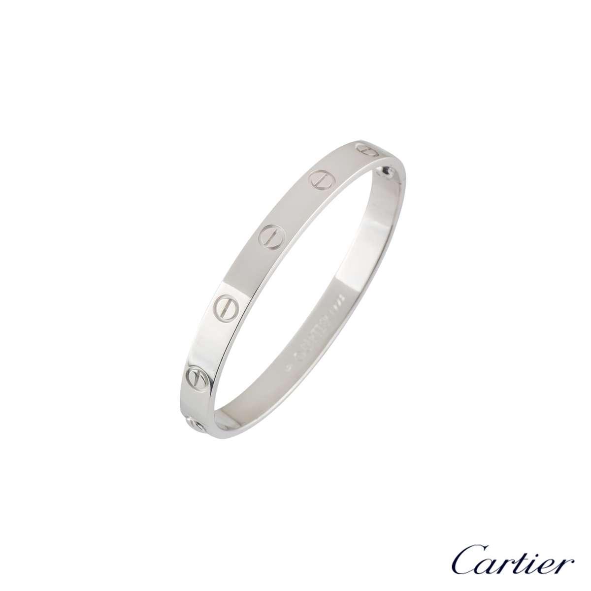 Cartier 18k White Gold Plain Love Bangle Size 16 B6035416